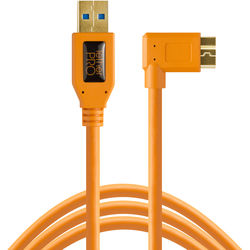 Tether Tools USB 3.0 Type-A Male to Micro-USB Right-Angle Male Cable (1', Orange)