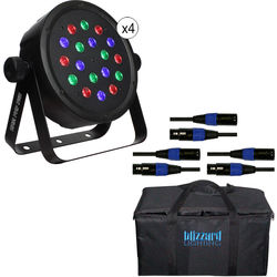 Blizzard Lighting BAM PAR RGB LED Kit with DMX Cables & Bag (4-Pack)