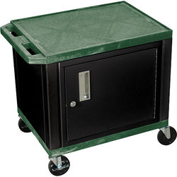 """Luxor 24.5"""" Tuffy Cart with Cabinet and Electrical Assembly (Hunter Green)"""