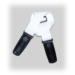 """Lock-It 2"""" Professional Gig Series Guitar Strap (White, Black Ends)"""