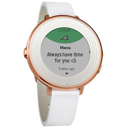 Pebble Time Round Smartwatch (Rose Gold, 14mm White Leather Band)