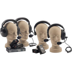 PortaCom Wired Intercom 4-User Set with 2 Dual Earpiece & 2 Single-Sided Headsets (No Cables)