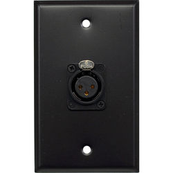 Whirlwind 1-Gang Wall Mounting Plate with 1 Neutrik Female XLR, Screw Terminals (Black Finish)
