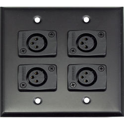 Whirlwind 2-Gang Wall Mounting Plate with 4 Whirlwind WC3F Female XLRs (Black Finish)