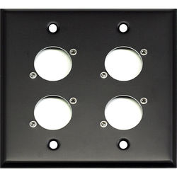 Whirlwind 2-Gang Wall Mounting Plate Punched for 4 Neutrik XLRs (Black Finish)