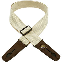 """Lock-It 2"""" Cotton Series Guitar Strap (Natural, Brown Ends)"""