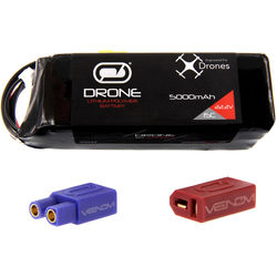 Venom Group 15C 6S 5000mAh LiPo Drone Battery with Uni 2.0 XT60 Connector and EC3 & Deans Adapters (22.2V)