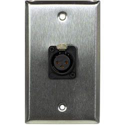 Whirlwind 1-Gang Wall Mounting Plate with 1 Neutrik Female XLR, Screw Terminals (Stainless Steel Finish)