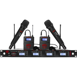 Nady UHF Wireless System with Two Handheld & Two Lavalier Microphones, Two Bodypacks, and Receiver