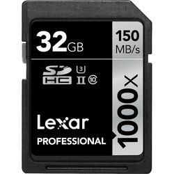 Lexar 32GB Professional 1000x UHS-II SDHC Memory Card (Class 10, UHS Speed Class 3)