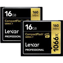 Lexar 16GB Professional 1066x CompactFlash Memory Card (UDMA 7, 2-Pack)