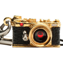 Japan Hobby Tool Miniature Swarovski Range Finder Camera Charm (Gold)