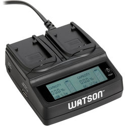 Watson Duo LCD Charger with 2 Plates for LI-50B, LI-70B, VW-VBX070, VW-VBX090, D-Li88, D-Li92, DB-100, DB-L80 or NP-BK1