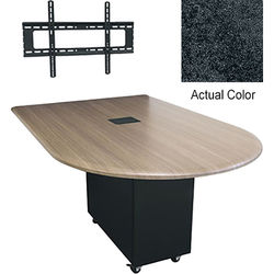 "Middle Atlantic Hub 84"" Bullet Shaped Work Surface (High Pressure Laminate Finish, Darkstone)"