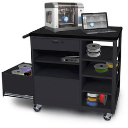 Marvel Mobile 3D Printer Cart with Front Locking Drawer and Four Side Shelves (Steel)