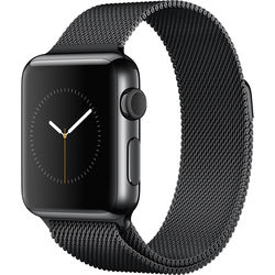 Apple Watch 38mm Smartwatch (2015, Space Black Stainless Steel Case, Space Black Milanese Loop Band)