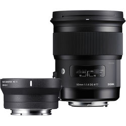 Sigma 50mm f/1.4 DG HSM Art Lens for Canon EF and MC-11 Mount Converter/Lens Adapter for Sony E Kit