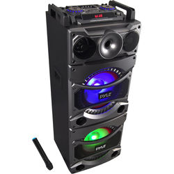 Pyle Pro PSUFM1038BT - 2400W Bluetooth Portable Karaoke System with DJ Lights and Top-Panel Controls