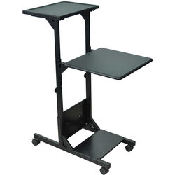 "H. Wilson WPS3 Presentation Stand with Two Shelves - 18 x 40.5-48 x 29.5""  (Black)"
