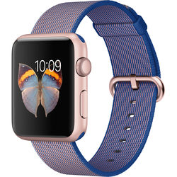 Apple Watch Sport 42mm Smartwatch (2015, Rose Gold Aluminum Case, Royal Blue Woven Nylon Band)