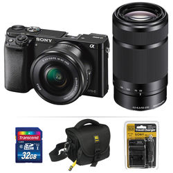 Sony Alpha a6000 Mirrorless Digital Camera Kit with 16-50mm and 55-210mm Lenses (Black)