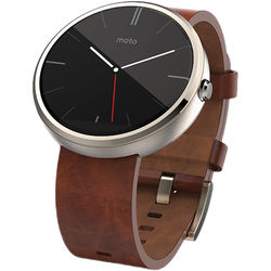 Motorola Moto 360 Smartwatch (Gold Finish, Cognac Horween Leather Band, Regular Fit)