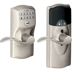 Schlage Connected Keypad Lock with Accent Lever (Camelot Trim, Satin Nickel)