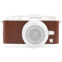 Japan Hobby Tool Camera Leather Decoration Sticker for Olympus PEN E-P3 Mirrorless Camera (Crocodile Brown)