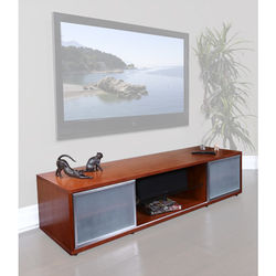 PLATEAU SR-V 75 TV Stand (Walnut Finish, Silver Door Frames)