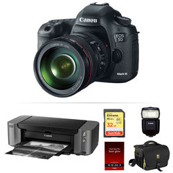 Canon EOS 5D Mark III DSLR Camera with 24-105mm Lens, Flash, and Inkjet Printer Kit
