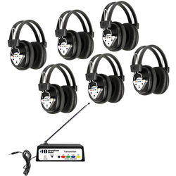 HamiltonBuhl W6-BT 6-Station Bluetooth Wireless Listening Center with Variable-Frequency Transmitter and 6 Headphones