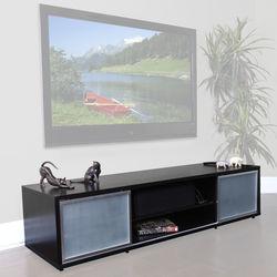 PLATEAU SR-V 75 TV Stand (Espresso Finish, Silver Door Frames)