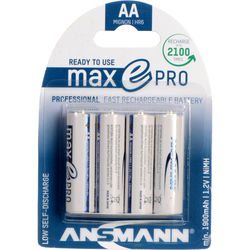 Ansmann Rechargeable maxE PRO AA NiMH Batteries (1.2V, 2000mAh, 4-Pack)