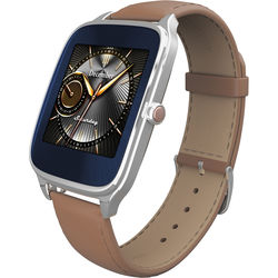 """ASUS ZenWatch 2 1.63"""" Smartwatch with HyperCharge (Silver Case, Camel Leather Band)"""
