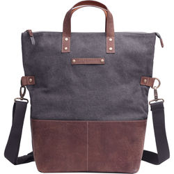 Kelly Moore Bag Collins Canvas & Leather Shoulder Bag with Removable Insert (Gray with Brown Trim)