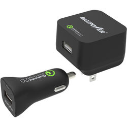 DigiPower Qualcomm QuickCharge 2.0 Wall and Car Charger Kit