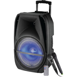 """Technical Pro Rechargeable 15"""" Portable PA System with Wireless Mic & Bluetooth Streaming"""
