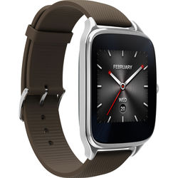 """ASUS ZenWatch 2 1.63"""" Smartwatch with HyperCharge (Silver Case, Brown Rubber Band)"""