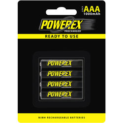 Powerex Precharged Rechargeable AAA NiMH Batteries (1.2V, 1000mAh) - 4-Pack