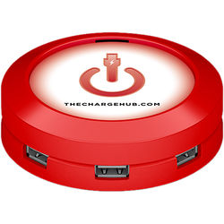 ChargeHub 7-Port USB Universal Charging Station (Round, Red)