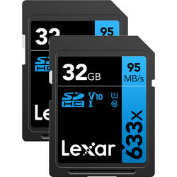 Lexar 32GB Professional UHS-I SDHC Memory Card (U1, 2-Pack)