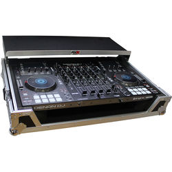 ProX Flight Case for Denon MCX8000 DJ Controller with Sliding Laptop Shelf and Wheels (White)
