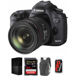 Canon EOS 5D Mark III DSLR Camera with 24-70mm Lens and Storage Kit