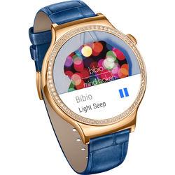 Huawei Watch Jewel Women's 44mm Smartwatch (Rose Gold Stainless Steel Encircled with Swarovski Zirconia, Blue Italian Leather Band)