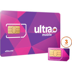 Ultra Mobile 3-Month International Plan with 3-Size SIM Card Pack