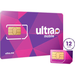 Ultra Mobile 12-Month International Plan with 3-Size SIM Card Pack
