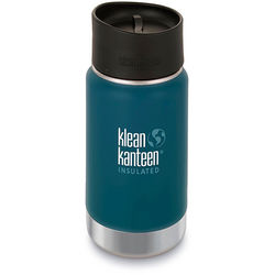 Klean Kanteen Vacuum Insulated Wide 12 oz Water Bottle with Cafe Cap (Neptune Blue)