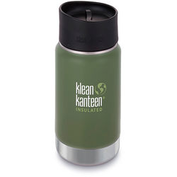 Klean Kanteen Vacuum Insulated Wide 12 oz Water Bottle with Cafe Cap (Vineyard Green)