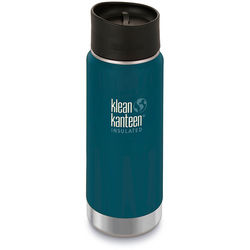 Klean Kanteen Vacuum Insulated Wide 16 oz Water Bottle with Cafe Cap (Neptune Blue)