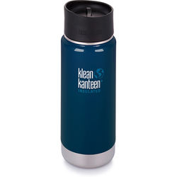 Klean Kanteen Vacuum Insulated Wide 16 oz Water Bottle with Cafe Cap (Deep Sea)